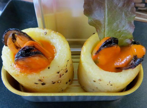 Crujiente de patata y mejillón para Come o Mar
